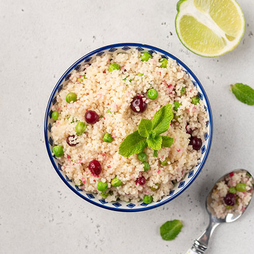 Bowl of fluffy cous cous