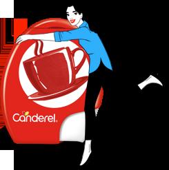 Canderel tablets packshot being hugged by Canderella illustration