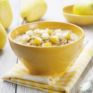 Bowl of porridge with pears