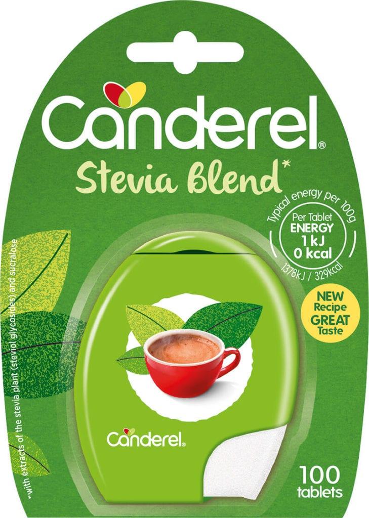 Canderel Stevia Blend packshot with cardboard backing