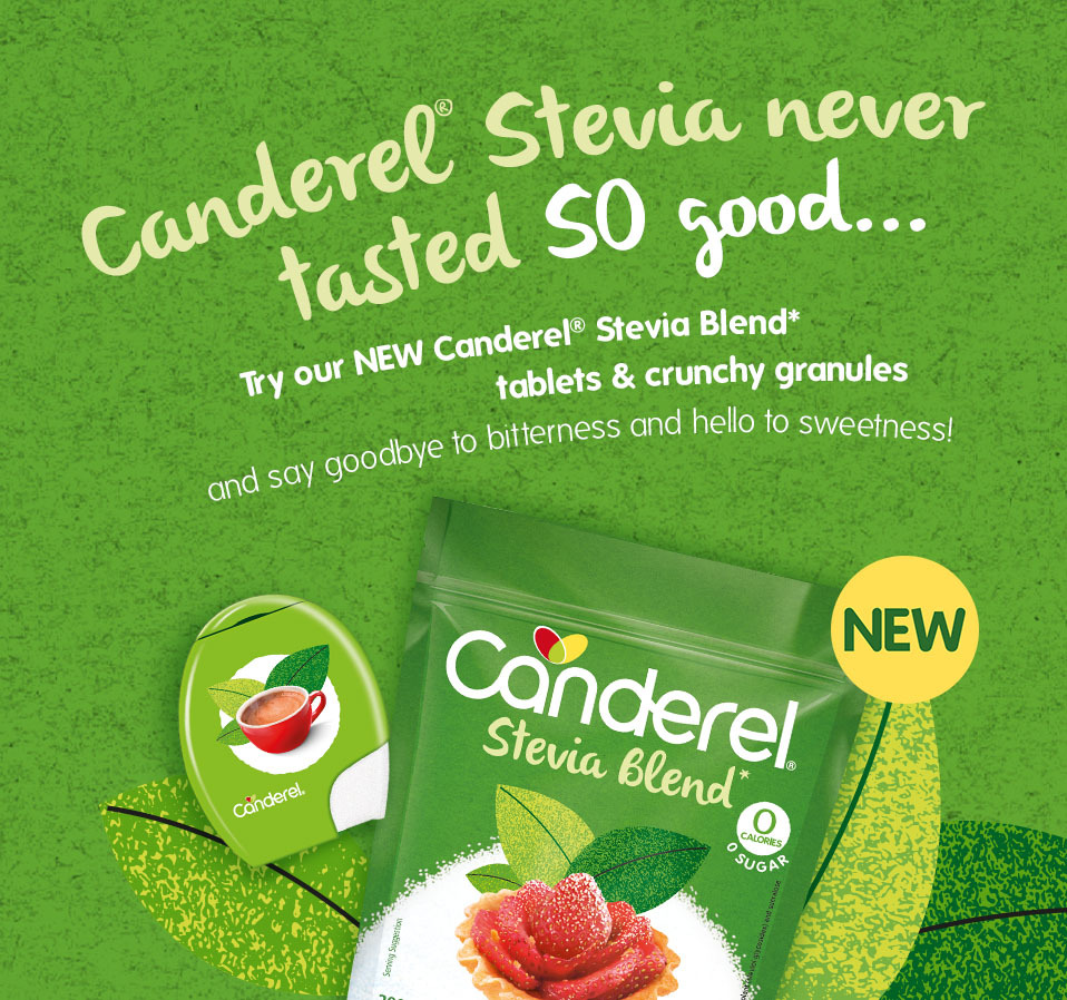 Canderel Stevia never tasted so good... Try our new Canderel Stevia Blend tablets & crunchy granules and say goodbye to bitterness and hello to sweetness! Packshots on green natural background