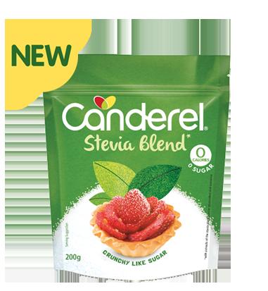 Canderel Stevia Blend packshot with newflash
