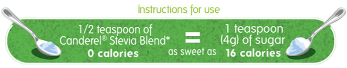 1 teaspoon of Canderel® Stevia Blend is as sweet as 1 teaspoon (4g) of sugar